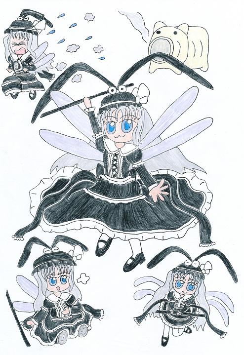 2014年新作イラスト「蚊 ~彼女は何時も狙っている~」