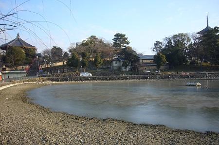 猿沢の池氷