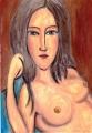 2髪をほどいた横たわる裸婦