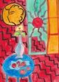 1赤い室内、青いテーブルの上の静物 By アンリ・マティス
