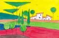 3真紅の大地金色の空に包まれた家ロジェ・ボナフェ