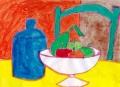 3ロジェボナフェ黄色のテーブル青い壺