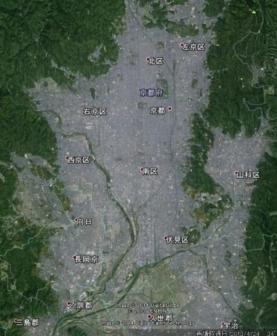 京都盆地航空写真