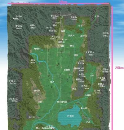 京都盆地3Dモデル(新)真上+地名等