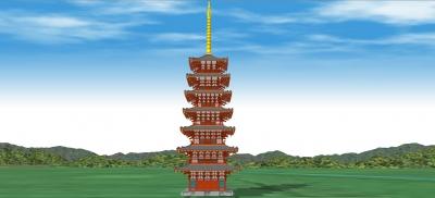 南から見上げる相国寺七重塔