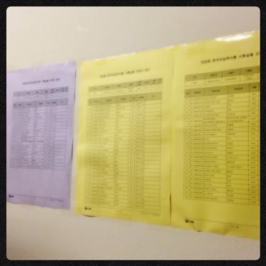 教室入口にも受験者の名前が掲示されています。