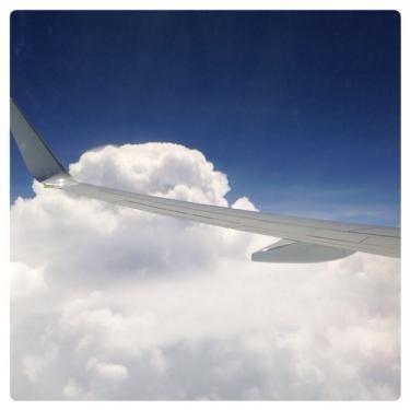 どんよりしたお天気でも空の上は上天気。