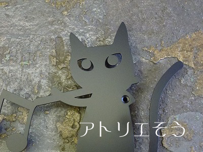 猫+音符+フルート妻飾り