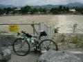 140813嵐山、中ノ島から桂川の濁流