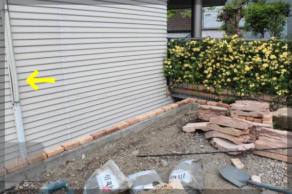 DIY 庭づくり 砕石駐車場 20140706