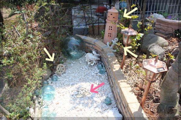 海 ガラス玉 庭づくり 20140408