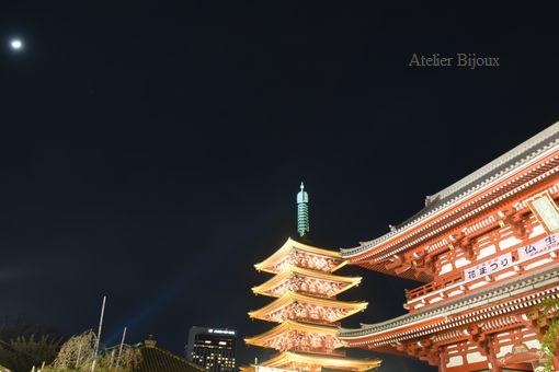 138-五重の塔と月