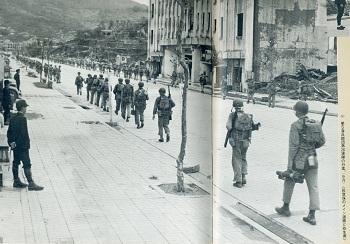 市街地を行進する進駐軍