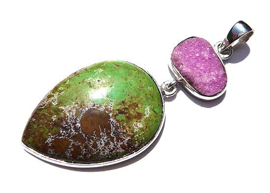 コバルトカルサイト&ガスペアイト・コンビ ペンダント 天然石 パワーストーン silver 925 45