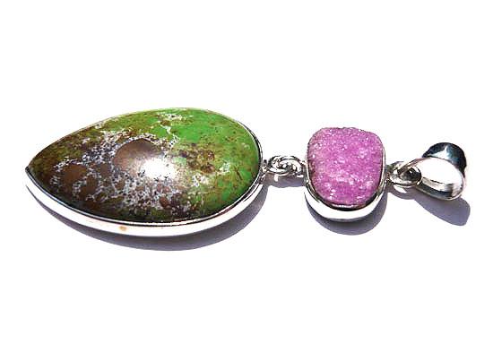 コバルトカルサイト&ガスペアイト・コンビ ペンダント 天然石 パワーストーン silver 925 47