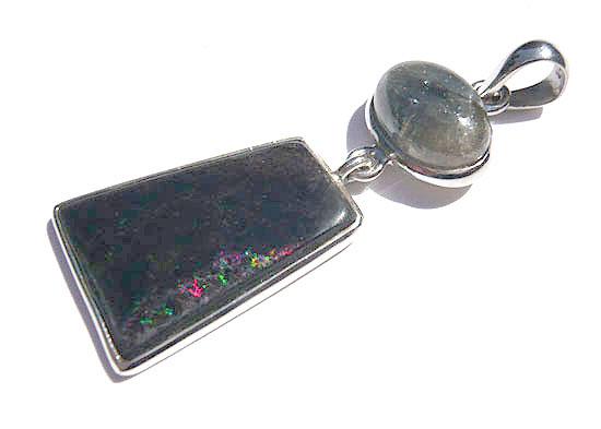サファイヤ&ブラックマトリックスオパール ペンダント 天然石 パワーストーン silver 925 39