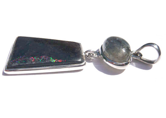 サファイヤ&ブラックマトリックスオパール ペンダント 天然石 パワーストーン silver 925 40