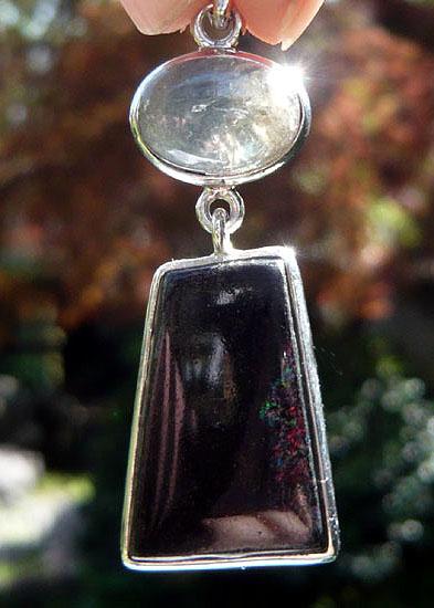 サファイヤ&ブラックマトリックスオパール ペンダント 天然石 パワーストーン silver 925 16