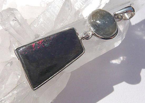 サファイヤ&ブラックマトリックスオパール ペンダント 天然石 パワーストーン silver 925 13