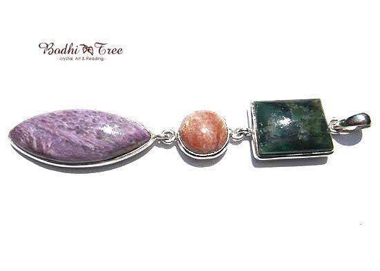 エメラルド&サンストーン&チャロアイト ペンダント 天然石 パワーストーン silver 925 64