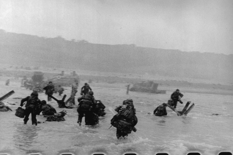ROBERT CAPA American soldiers landing on Omaha Beach D-Day Normandy France June 6 1944