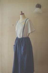 リネンサージのスカート プルシアンブルー
