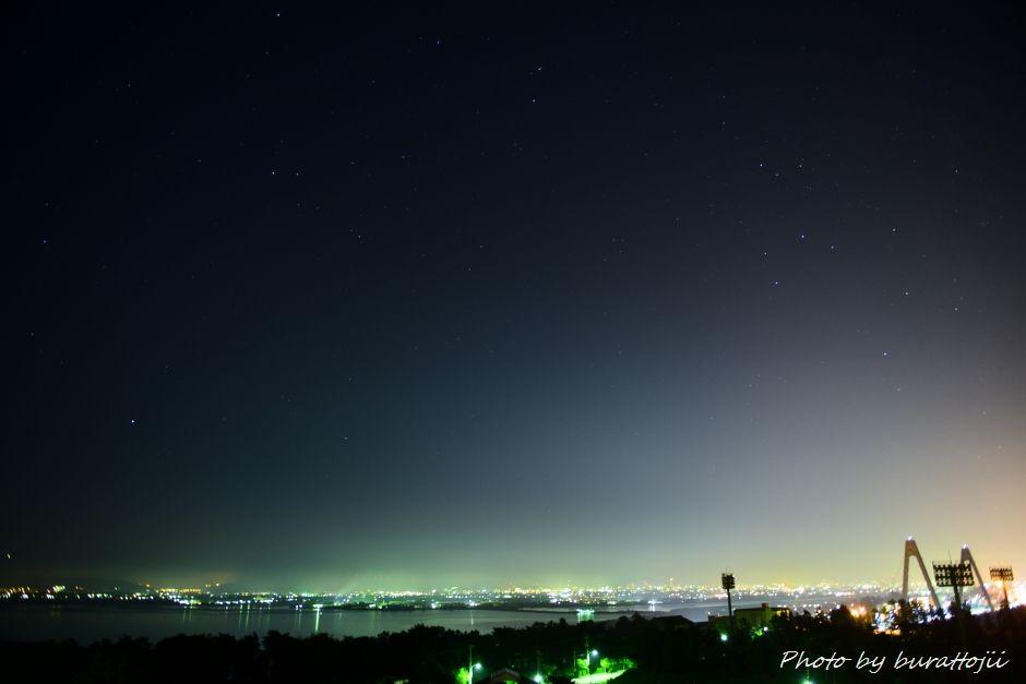 2014.07.25河北潟の夜景6金沢の夜景と星