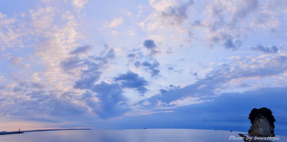 2014.09.11軍艦島からの朝景1パノラマ