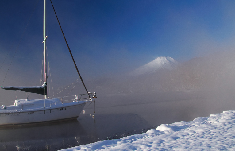 山中湖の新雪-784-1