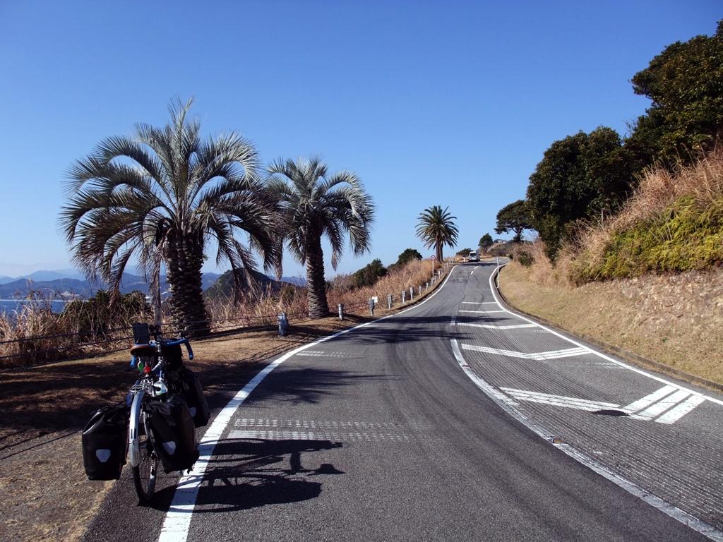クルスの海へと向かう南国的な道
