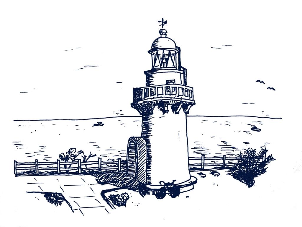 日向岬灯台のドローイング