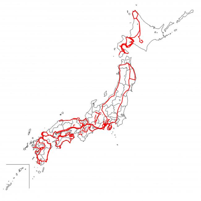 自転車日本一周の行程ルート