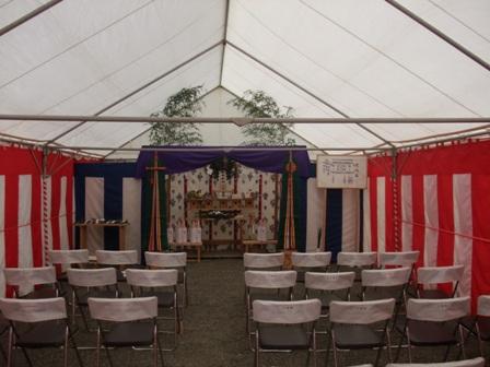 コーポラティブハウス:地鎮祭テント内部