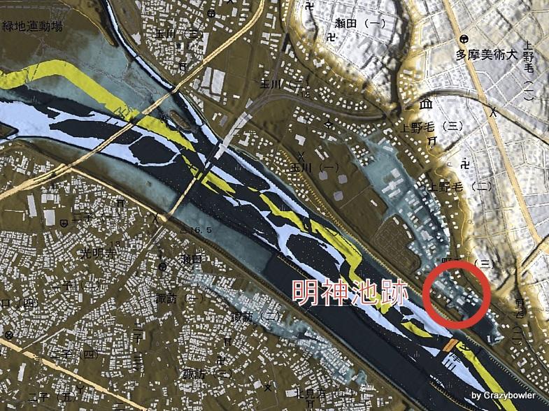 明神池跡と多摩川旧河道