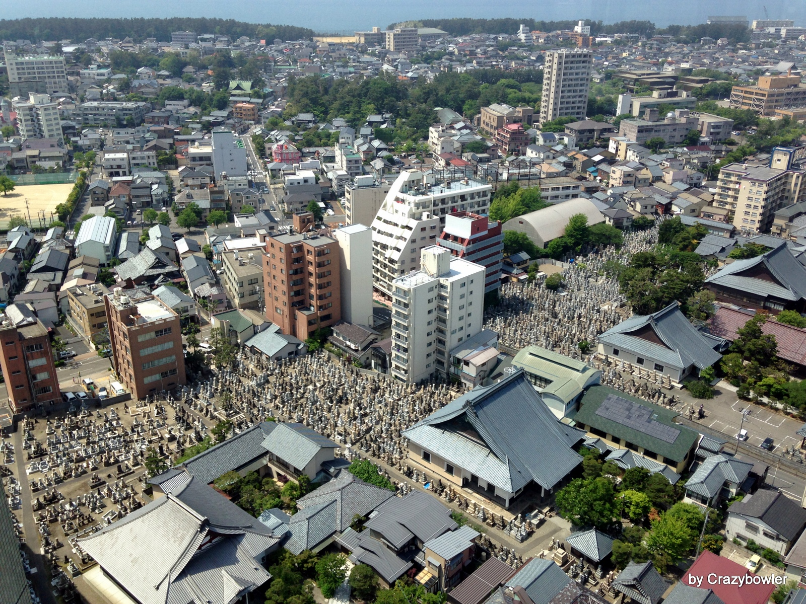 101mから見る浄泉寺と本覚寺の墓地群