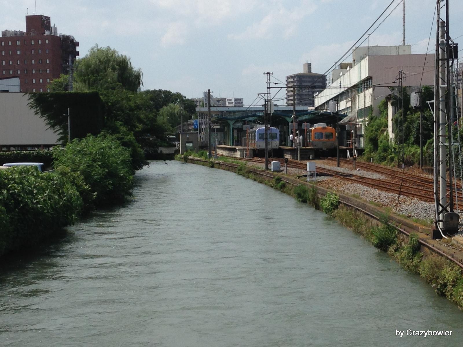 広瀬川と上毛電気鉄道上毛線の中央前橋駅