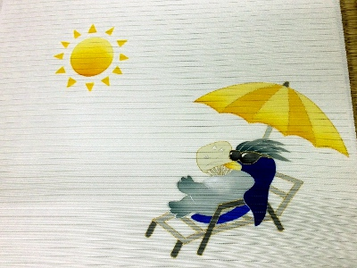 夏塩瀬手描 京友禅染名古屋帯 ペンギンアップ