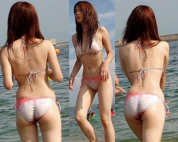 ビーチで遊んでる素人の水着 ビキニ姿のエロ画像 15