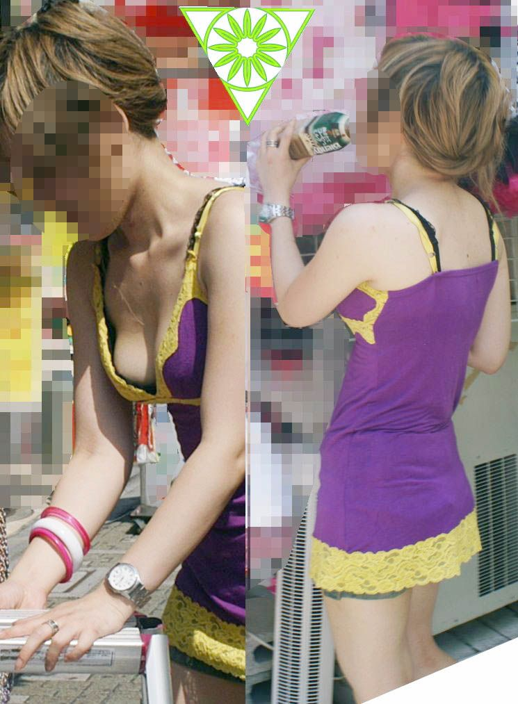街撮り盗撮 無防備な素人女性の胸チラ画像 15