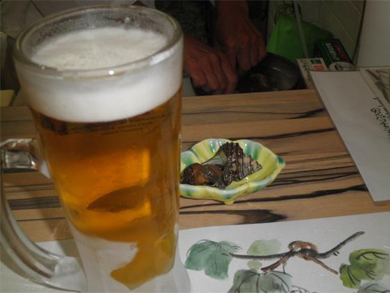 ビールとつきだし