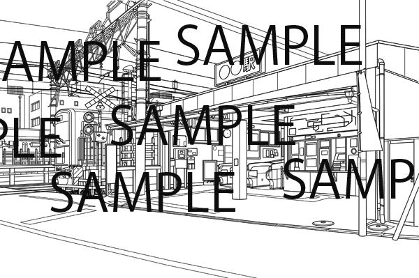 私鉄沿線の小さな駅のイラスト