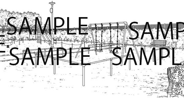 公園のブランコのイラスト