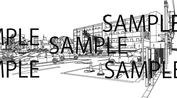 漫画背景素材「駐車場のイラスト」