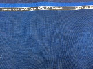 ウール・キッドモヘア混紡の青のジャケット生地