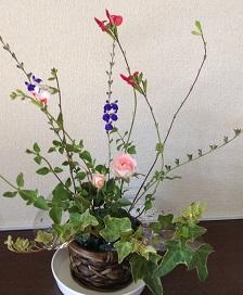 庭の花でミニアレンジ^^