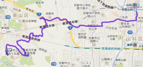 京の東山から山科へ