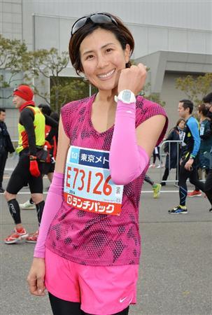 東京マラソンを完走した長谷川理恵