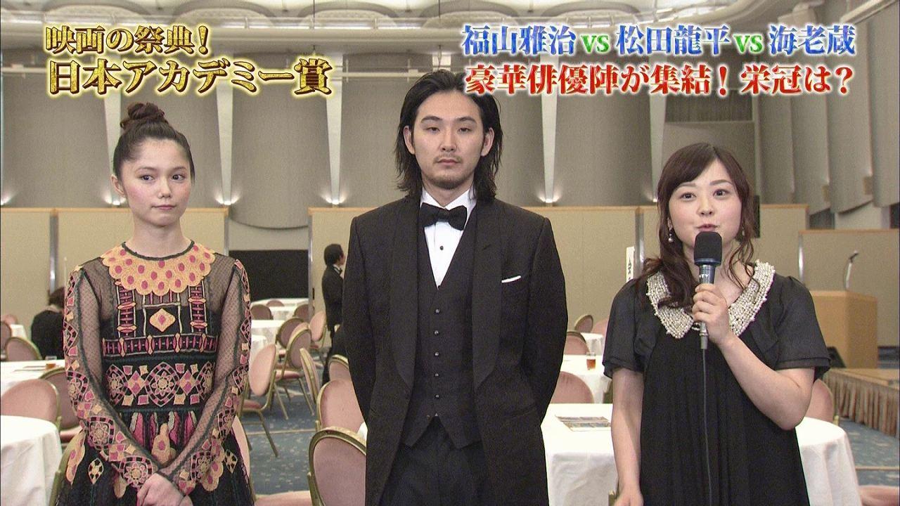 第37回日本アカデミー賞授賞式で宮崎あおいと松田龍平にインタビューする水卜麻美アナ