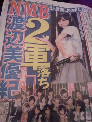渡辺美優紀2軍落ちの新聞記事