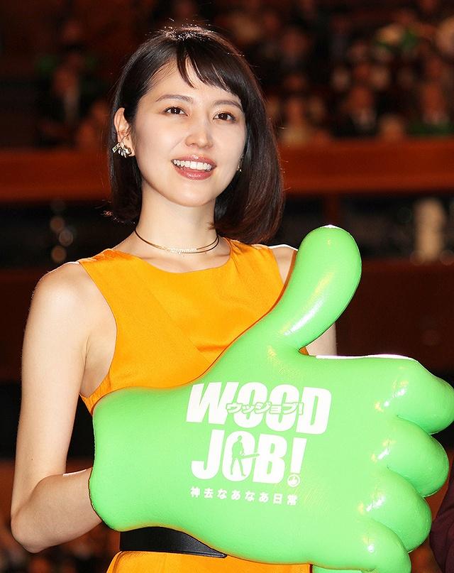 映画『WOOD JOB!(ウッジョブ)~神去なあなあ日常~』の完成披露試写会に出席した長澤まさみ